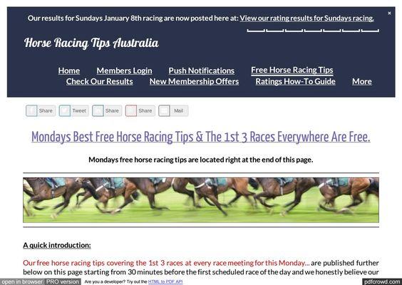 Mondays January 9th Free Horse Racing Tips