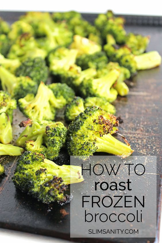 Roasted Frozen Broccoli - how you can roast frozen vegetables to save time in the kitchen!   slimsanity.com