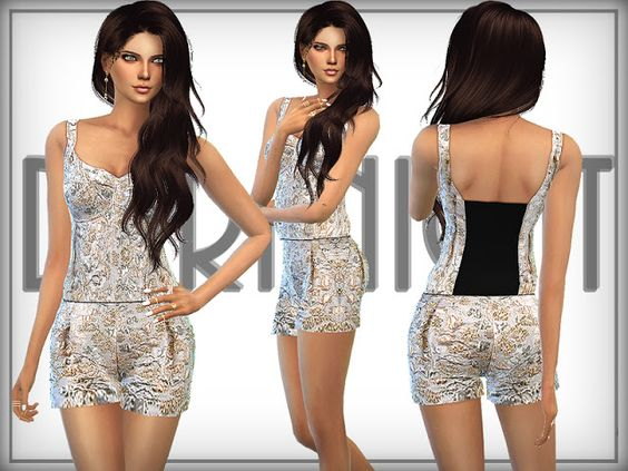 Sims 4 CC's - The Best: Floral Brocade Playsuit by DarkNighTt
