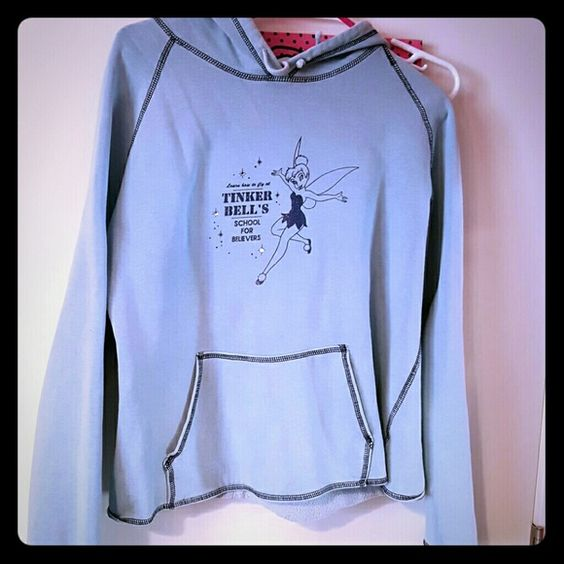 Tinkeberll hoodie Blue tinkerbell hoodie with glitter detail and front pocket Sweaters