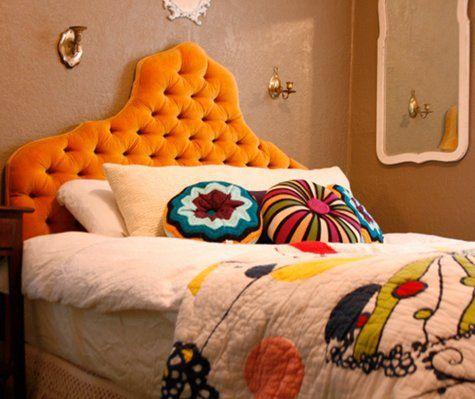 headboard, so fun!: 3/4 Beds, Bedroom Inspiration, Dream Bedrooms, Bedding Bedroom Decoration, Eclectic Bedrooms, Brilliant Bedrooms