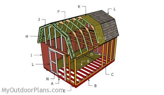 Roof plan shed roof and gambrel on pinterest for Free gambrel shed plans with loft