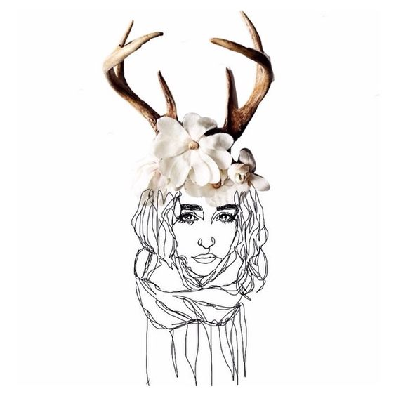 @ohdeerart drew this lovely photo of me, and then I added the antlers cause why not🌸