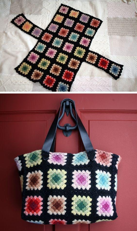 Felted Granny Square Tote Bag Bolsa de quadradinhos da vovó: