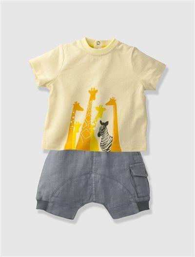 Ensemble T-shirt + short bébé garçon nouveau né BLANC-JAUNE+ECRU-GRIS - vertbaudet enfant