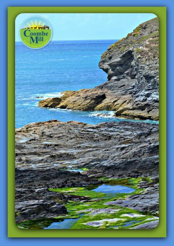 Cornish Coast path looking over the cliffs to rockpools