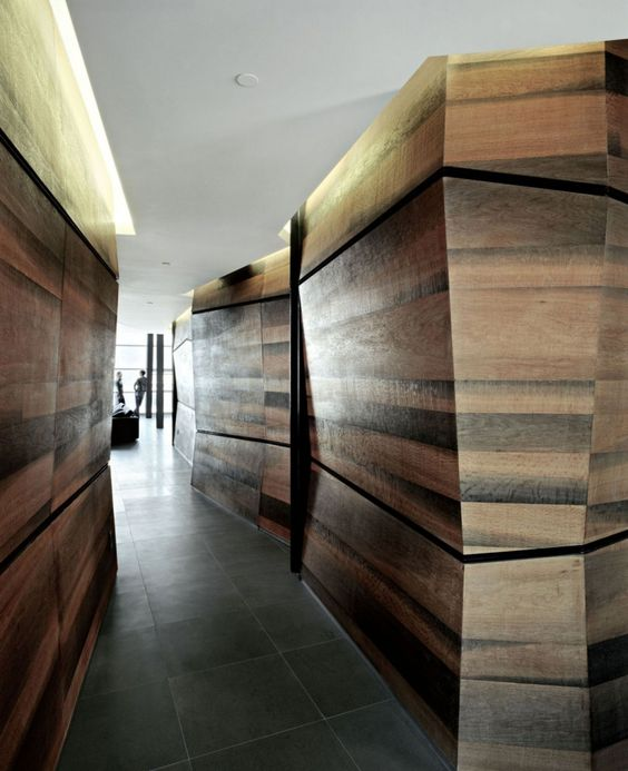 attention grabbing angled wood walls