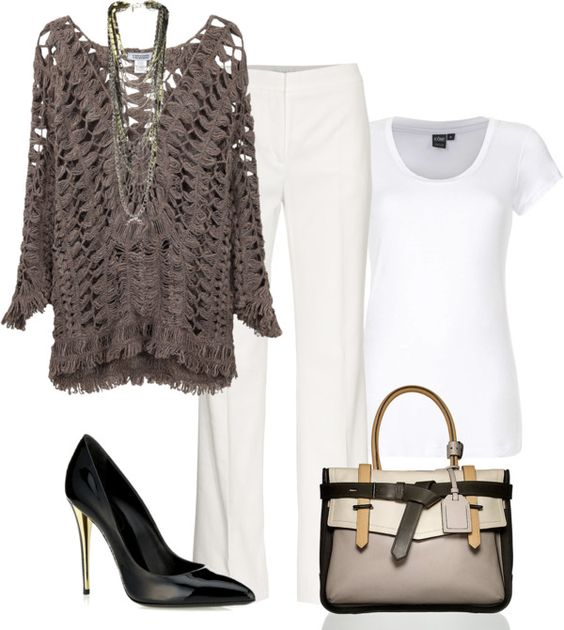 """""""Taupe & White"""" by melindatg on Polyvore"""