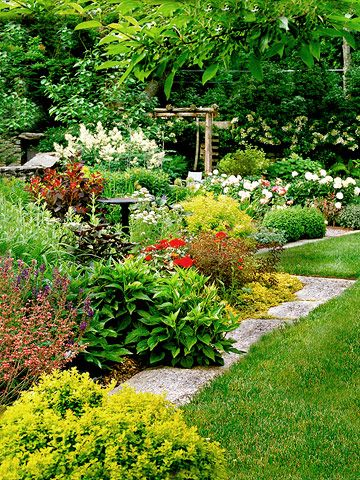 Stone edging side yards and yards on pinterest for Large low maintenance garden