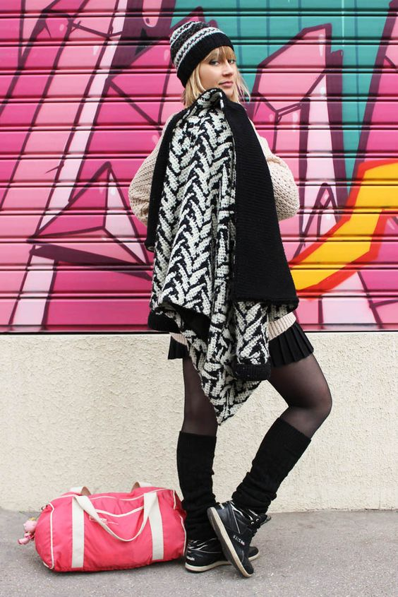 street look french blogger Artlex / fashion blog /sport/black and white/pink bag/