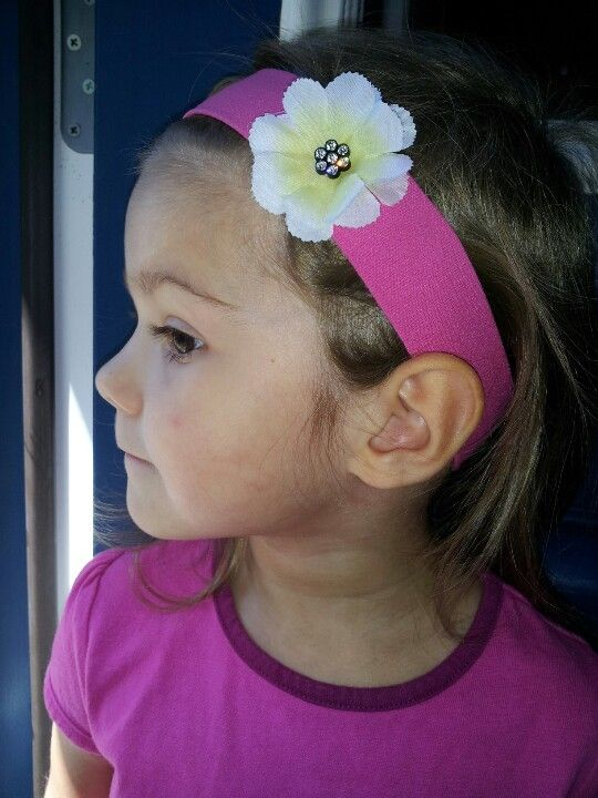 DIY headband- plain band, hot glue flower, finish with a button!