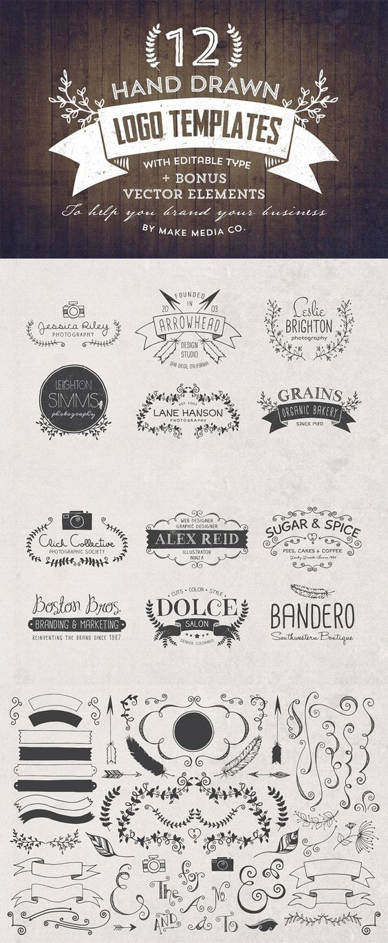 The Hand Drawn Logo Trio (and Bonus Decorative Elements) - Only $19 | MyDesignDeals