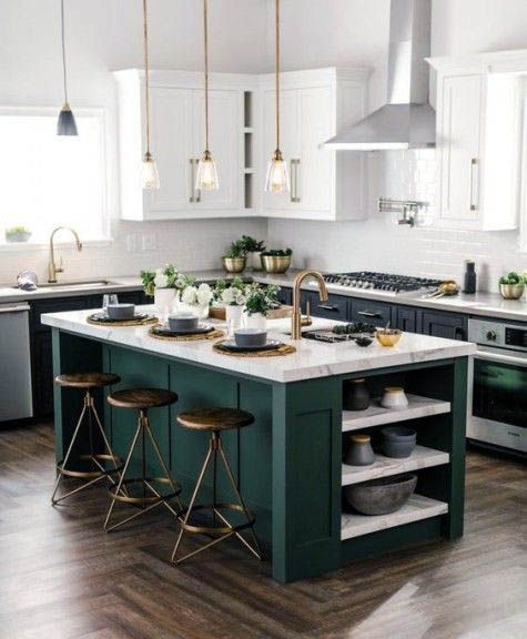 Impressive Emerald Green Painted Kitchen Cabinets Just On Smarthomefi Com Green Kitchen Designs Interior Design Kitchen Small Contrasting Kitchen Island