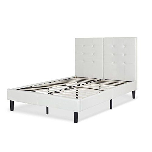 Metal Faux Leather Platform Bed Frame Gray Full Contemporary Style Bundle With Ebook F Leather Platform Bed