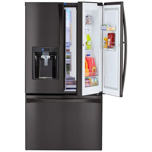 Kenmore Elite 73167 28 5 Cu Ft French Door Refrigerator Black Stainless Steel Sears French Door Refrigerator French Doors French Door Bottom Freezer