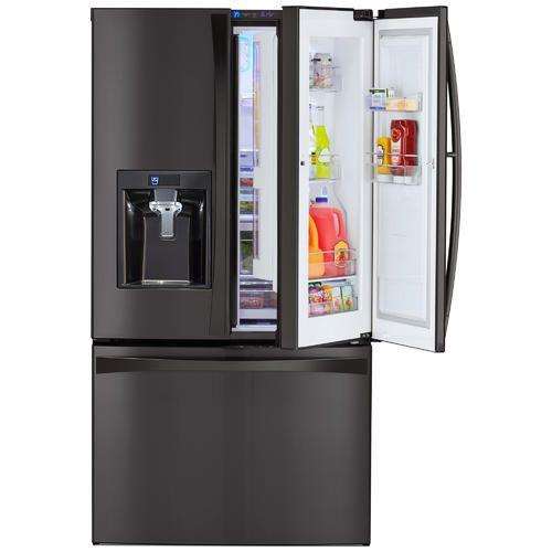 Kenmore Elite 73167 28 5 Cu Ft French Door Refrigerator Black Stainless Steel Sears French Door Refrigerator French Doors French Door Bottom Freezer