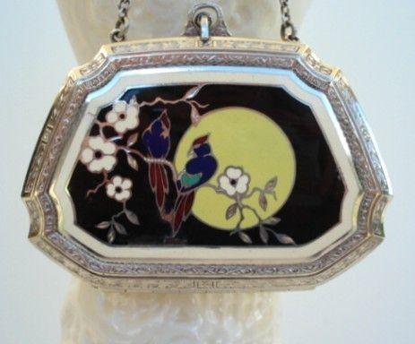 Vintage 1920's Art Deco Guilloche Enamel Dance Compact Exotic Birds Flowers Full-Moon 90% Silver
