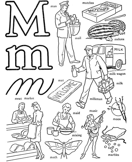letter m coloring pages | words coloring pages letter m1 Words ...