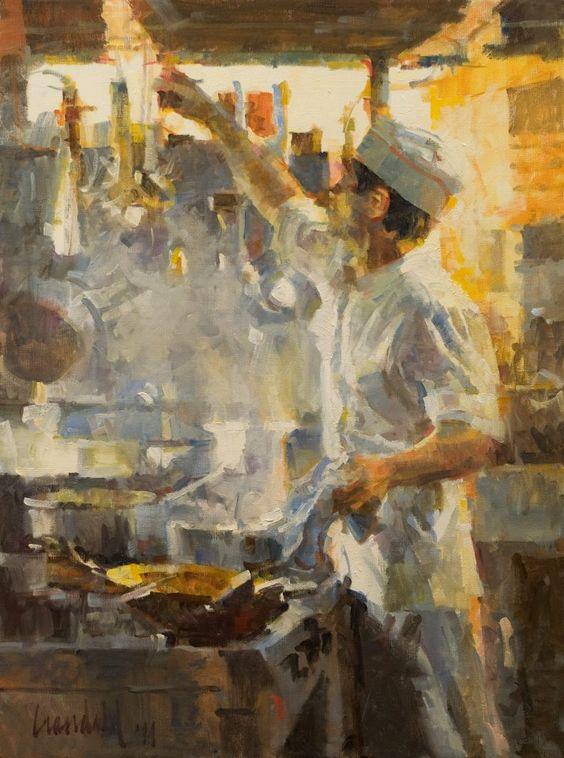 """""""Cuoco Romano"""" oil/canvas 24"""" x18""""-James Crandall"""