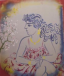 Σταθόπουλος Γιώργος,ΜεταξοτυπίαΚοπέλα με λουλούδια:
