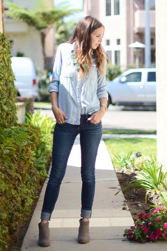 When wearing jeans with booties, an exposed ankle is key to keeping your ankles looking as slim as possible. One of the ways to create this gap between the jeans and boots is a cuffed hem.   Tip #3. Try this look with a longer pair of skinny jeans, rather than an ankle length pair. A larger cuff (2-3 inches tall) is more flattering).: