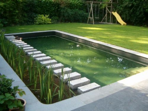 Housejen Swimmingpool Gardenpool Pool Garden Mod A Mini Pool Is Quickly Set Up Of In 2020 Swimming Pond Water Features In The Garden Natural Swimming Pools