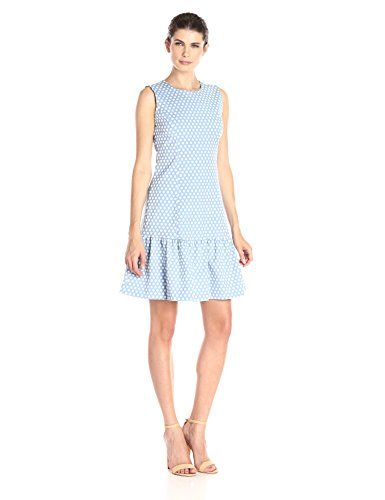 Tommy Hilfiger Women's Dropwaist Polka Dot Dress, Cornflower, 4 * Read more reviews of the product by visiting the link on the image.
