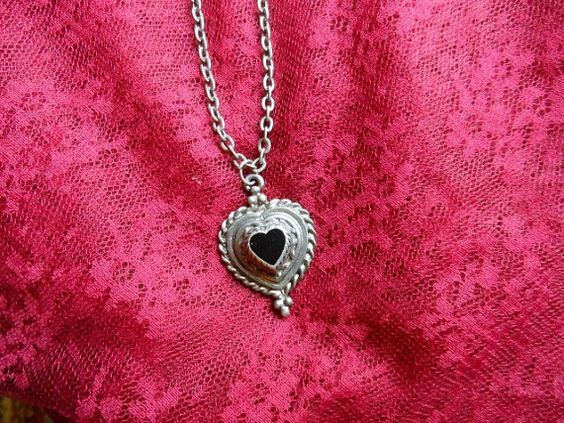 "SALE Neat Retro 16"" Heart Pendant Necklace 5 Tiered Braided Textured Edge with Black Stone Steampunk Hippie Love Peace Rocker Available now via Orphaned Treasures Etsy"