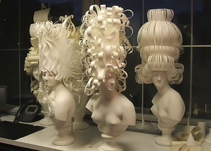 Pulp Fictions: Handmade French paper is twisted and turned into French wigs fit for Maria Antoinette and the ladies of her court.