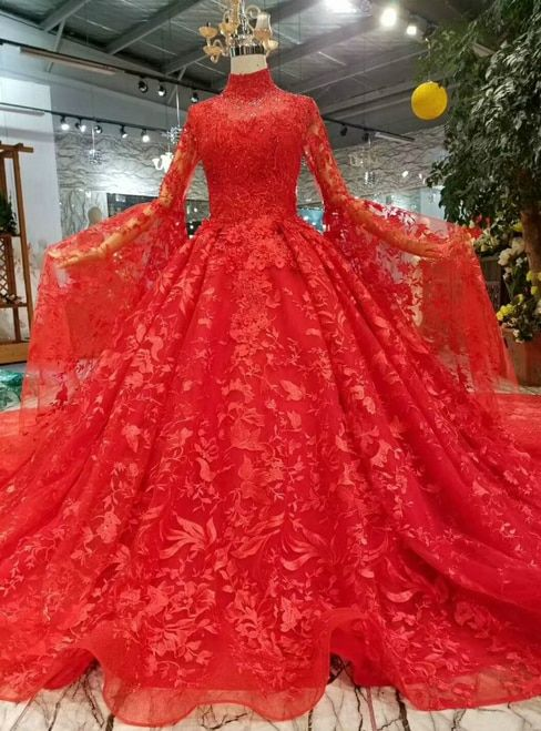 Red Ball Gown Lace Long Sleeve High Neck Wedding Dress With Long Train Red Ball Gowns High Neck Long Sleeve Wedding Dress Ball Gowns