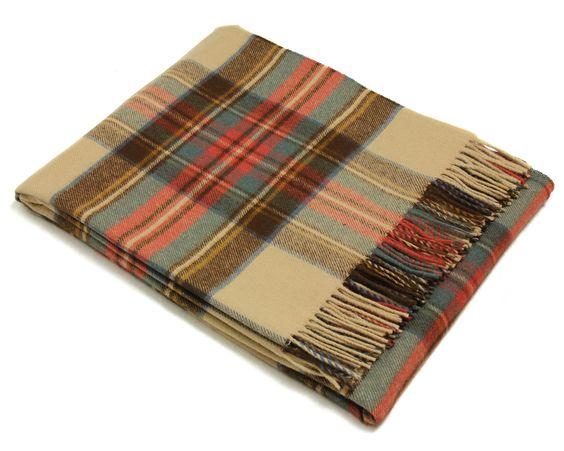 Bronte Throw Blanket - Tartan Throw - Merino Lambswool (Antique Dress Stewart)