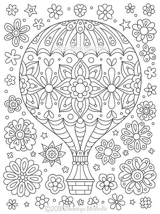 Hot Air Balloon Coloring Page From Thaneeya Mcardle S Think Happy Coloring Book Mandala Coloring Pages Coloring Books Coloring Pages