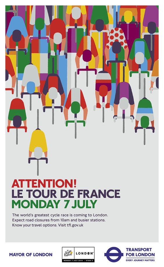 "Transport for London: ""Attention! Le Tour De France"" posters by Adrian Johnson."