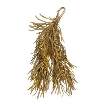 Gold leather fringe Rox key chain by Jerome Dreyfuss.