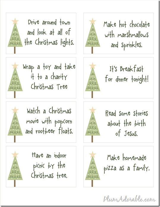 Free Printables - 24 Advent Calendar Ideas to do with your family