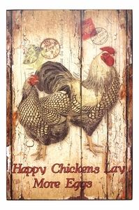 """Wood Rooster Wall Plaque finished to look like old barn wood. One Barred Rock Rooster and one hen with the message, Happy Chickens Lay More Eggs. Great for country kitchens and Rooster kitchen décor. Measures 12"""" X 18"""" X 0.30"""""""