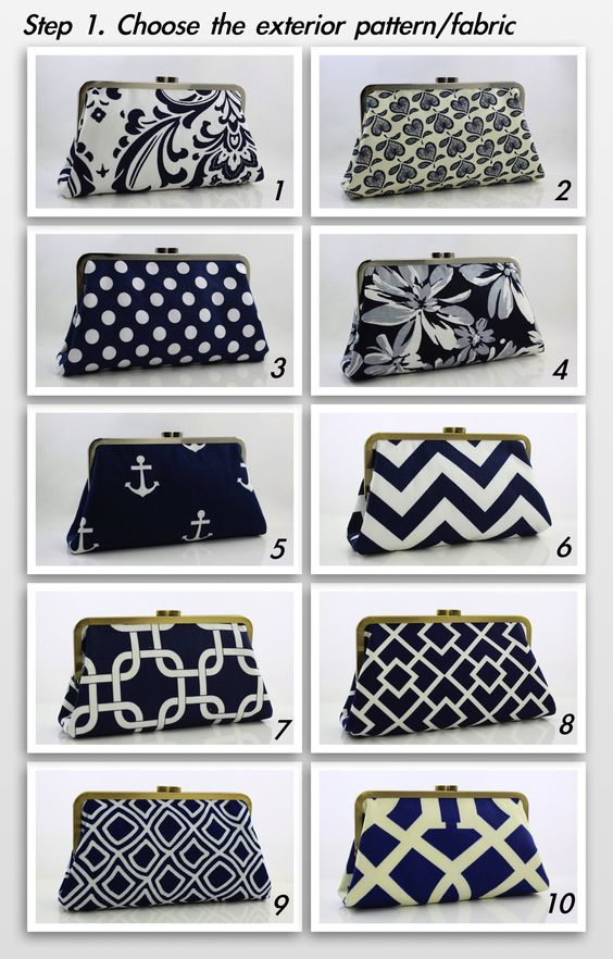Set of 6 -- 8 inch XL Bridesmaids Clutches -- Navy