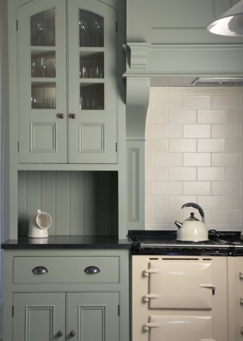 Modern Country Kitchen with Aga painted in Lichen by Farrow & Ball