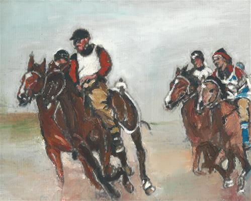 """Daily Paintworks - """"Beginning The Race (9 x 12 Oil on canvas sheet - no frame)"""" - Original Fine Art for Sale - © Ramon DelRosario"""