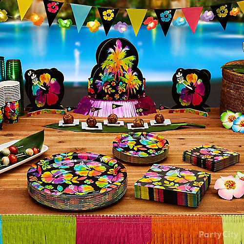 Neon Paradise Luau Food Table Party City Party City Neon