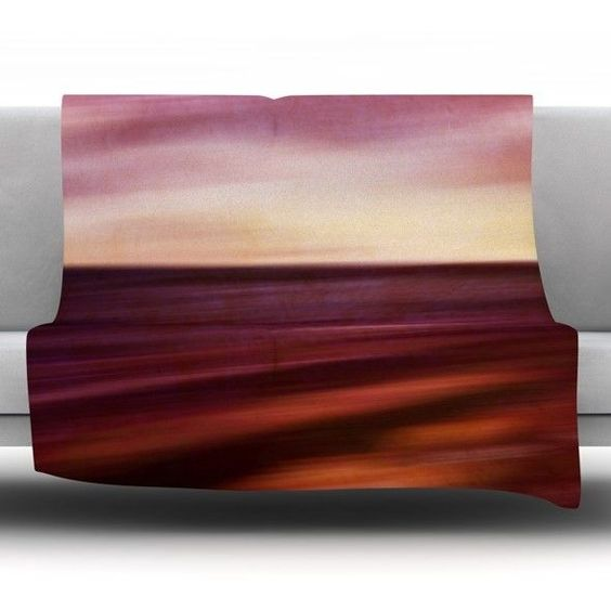 Seascape Sunset Fleece Throw Blanket