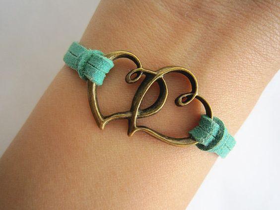 Antiqued Bronze Cross Hearts Bracelet Green by WearingPretty, $1.99