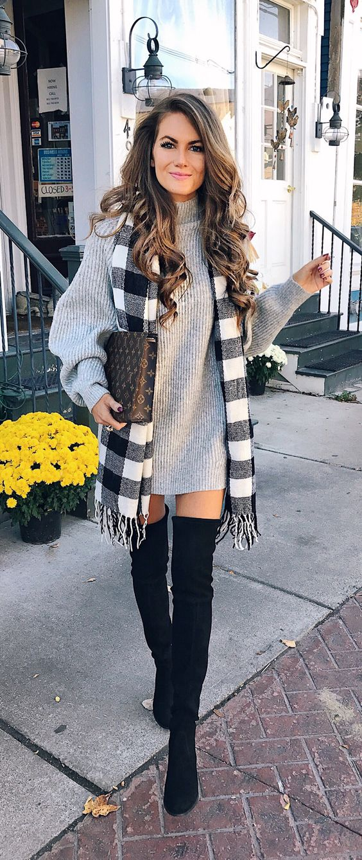 sweater dress + OTK boots