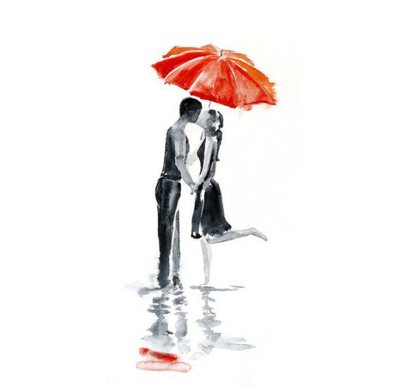 Love rain umbrella ART PRINT 13X19 original watercolor painting illustration home wall decor  modern contemporary reproduction poster