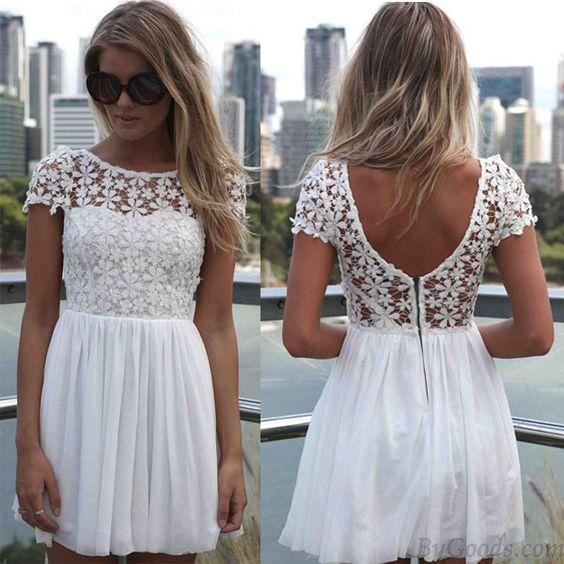 Sexy Backless Embroidery Lace Stitching Chiffon Dress