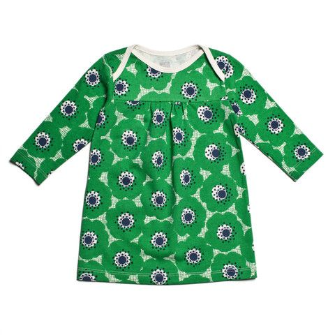 Rocking Horse Baby Dress - Anemones Green & Navy