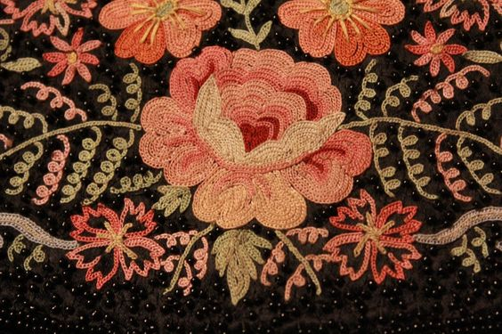 French crewel work floral embroidery. | eBay!