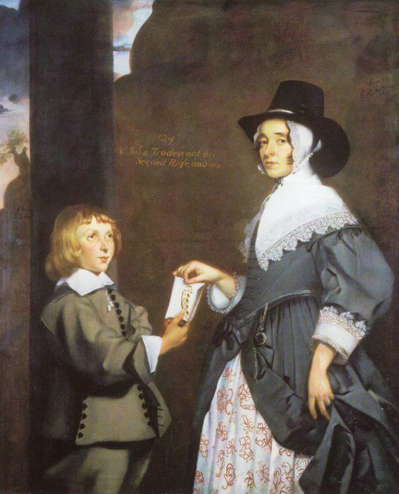Ester Tradescant and step-son 1645 (Ashmolean). Close fitting coif worn under a beaver hat.