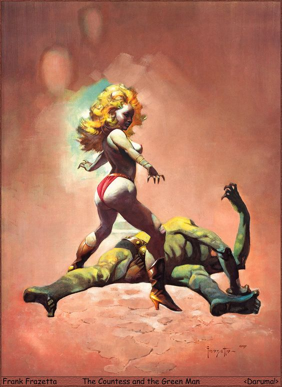 Frank Frazetta Paintings, Art, Pictures, Gallery, 70_Daruma!_FF_The_Countess_and_the_Green_Man