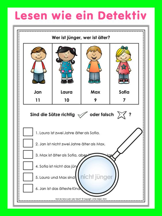 German worksheets for class 6